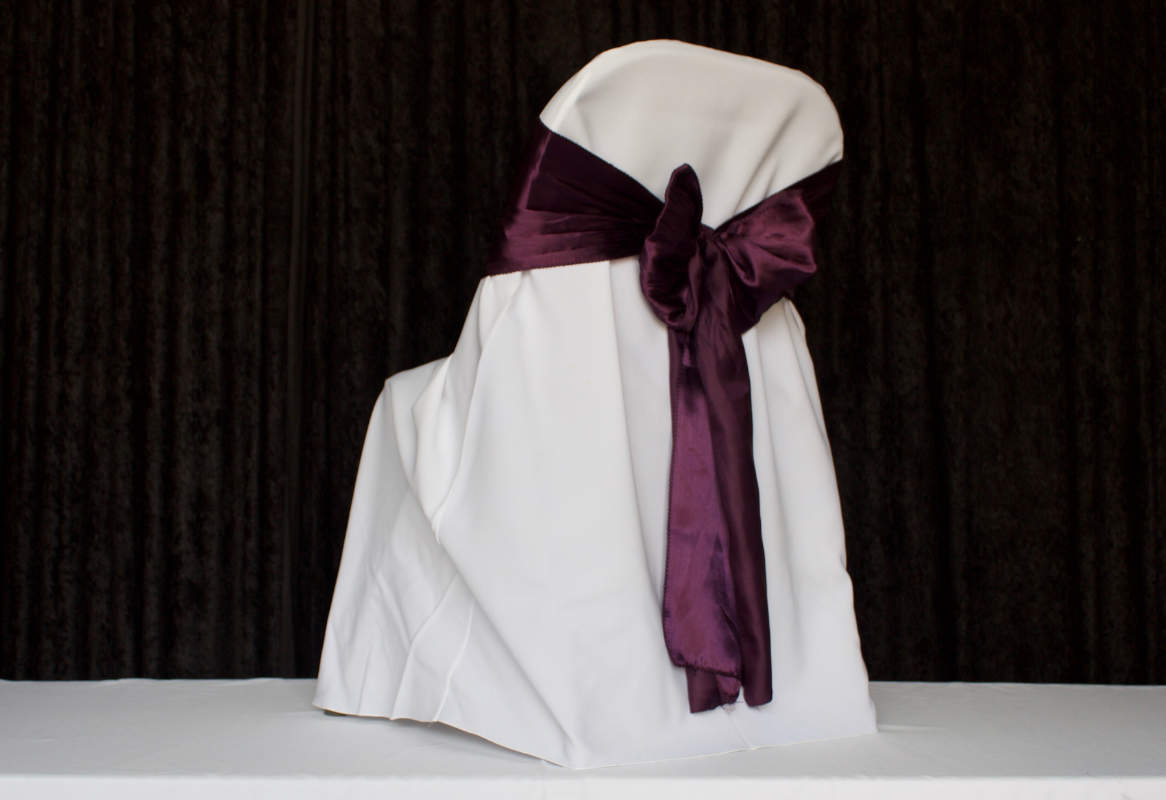 White Folding Chair Polyester Chair Cover Image