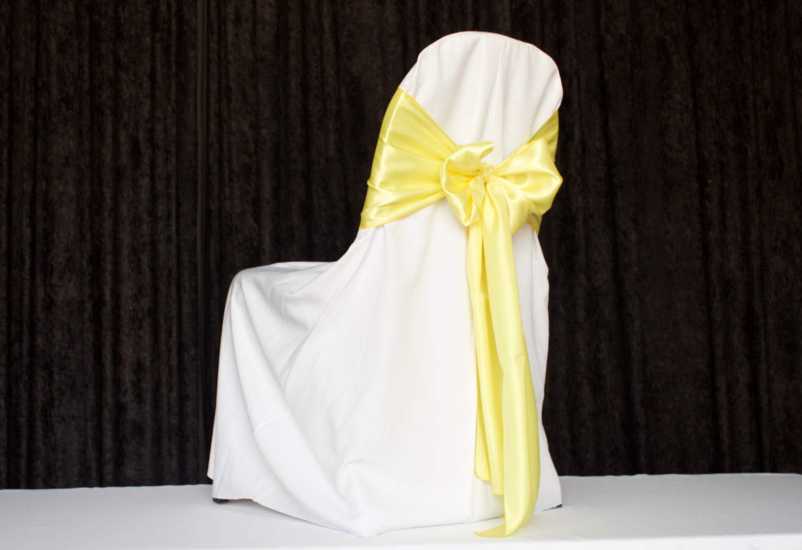 White Pleate for Banquet Polyester Chair Cover Image