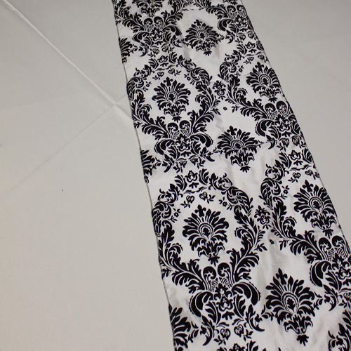 Black and White Damask Runner Image