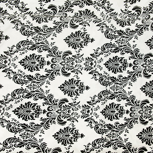 White and Black Damask Solid Collection Table Cloth Image