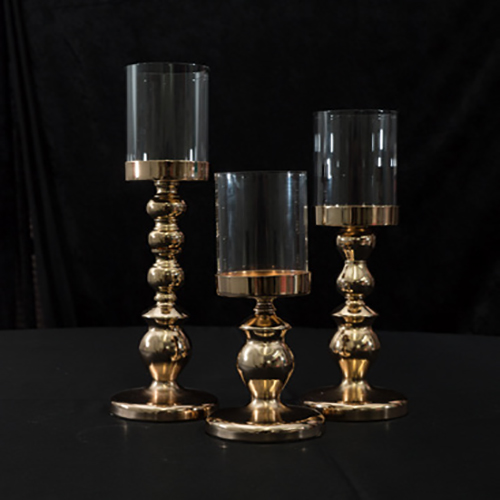 "Gold Candle Stand Trio 18"", 16"", 13"" Image"