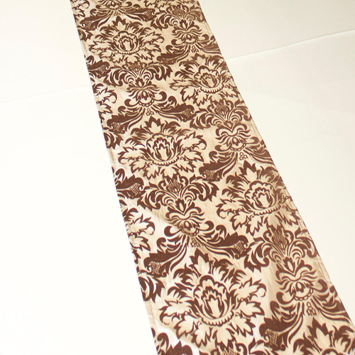 Champagne Brown Damask Runner Image