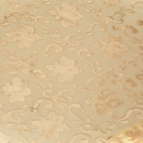 Gold Fleur de Lis Lace and Sheer Full Length Table Cloth Image