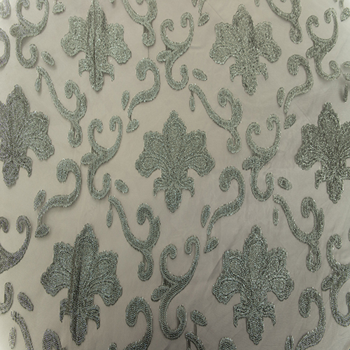 Charcoal Fleur de Lis Lace and Sheer Full Length Table Cloth Image