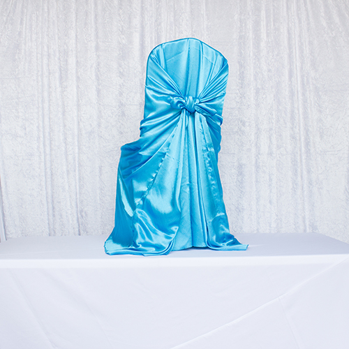 Turquoise Satin Self Tie Chair Cover Image