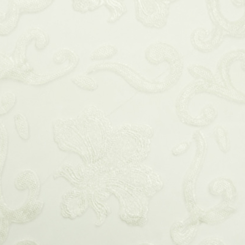 Silver Fleur de Lis Lace and Sheer Full Length Table Cloth Image