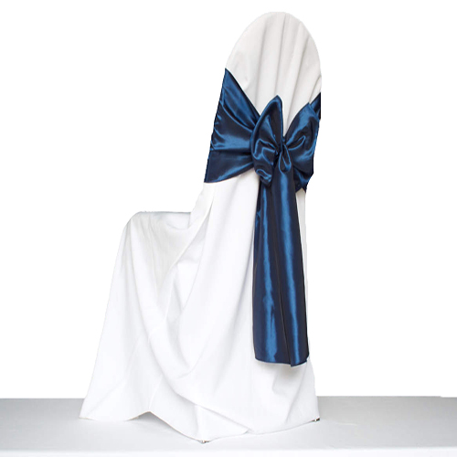 White Round for Banquet Polyester Chair Cover Image