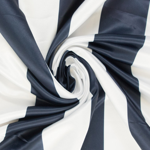 Navy Blue Striped Print Satin Image